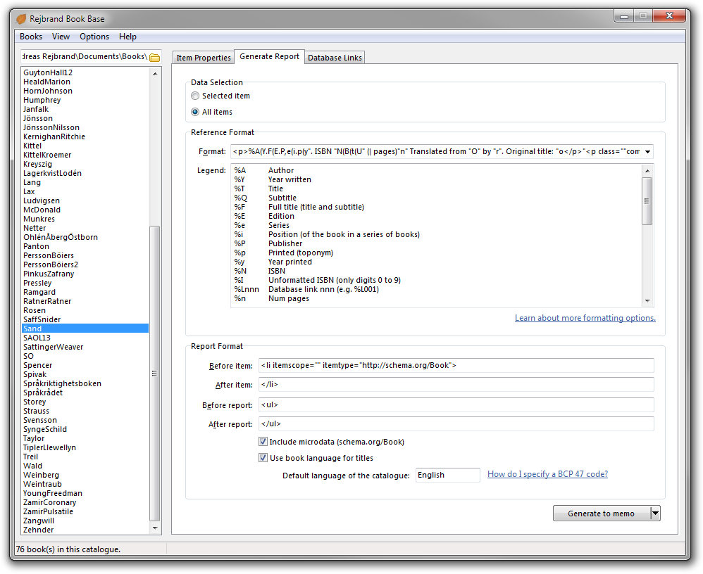 The report generation user interface.