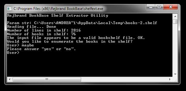 Screenshot of the Rejbrand BookBase Shelf Extractor Utility.
