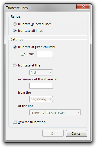 Screenshot of Rejbrand Text Editor: Truncate Lines dialog box