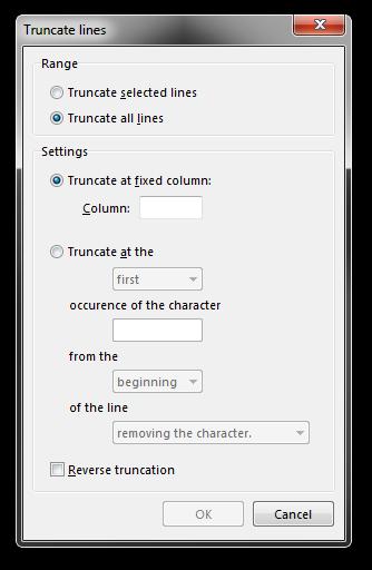 Screenshot of Rejbrand Text Editor: Truncate Lines dialog box